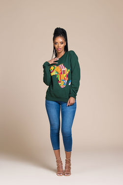Grass-Fields Tops and Blazers Green African Map Sweatshirt