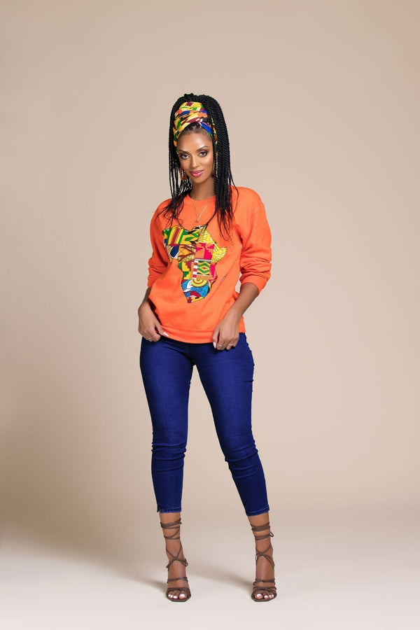 Grass-Fields Tops and Blazers Orange African Map Sweatshirt