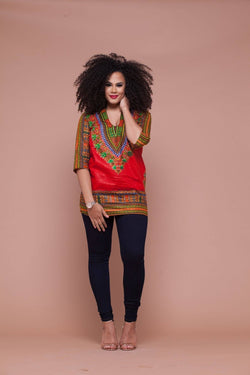 Grass-Fields Tops and Blazers Red Dashiki Top