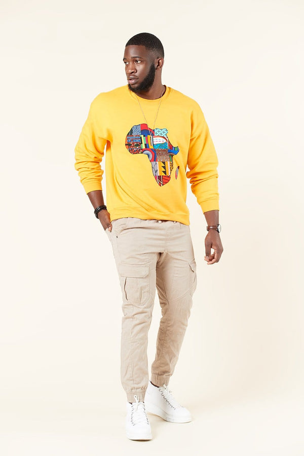 Grass-Fields Tops and Blazers Yellow African Map Mens Sweatshirt