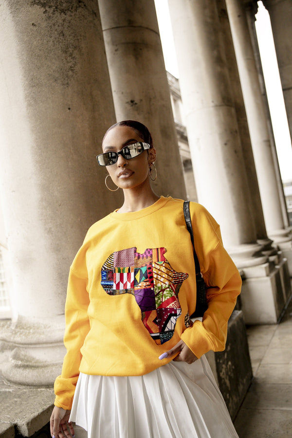 Grass-Fields Tops and Blazers Yellow African Map Sweatshirt