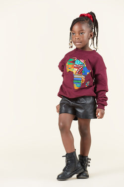 Grass-Fields Tops Burgundy African Map Kid's Sweatshirt