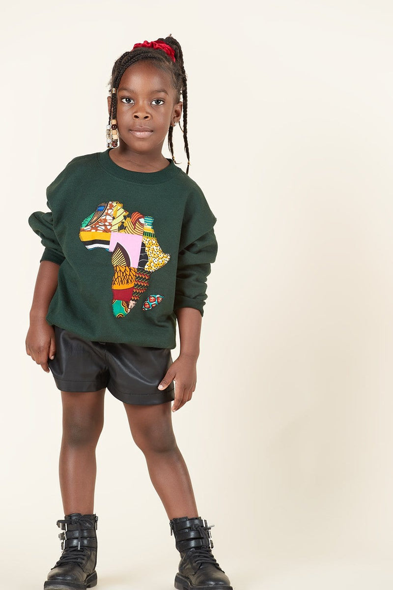 Grass-Fields Tops Green African Map Kid's Sweatshirt