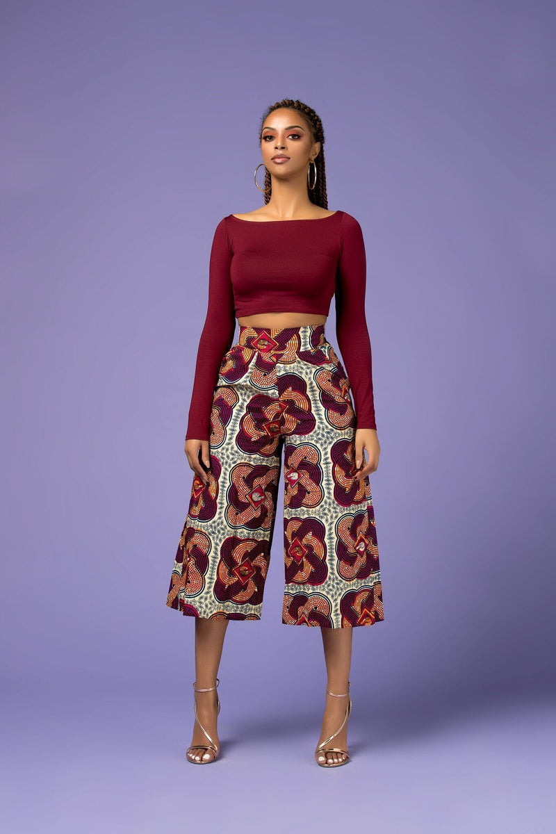 Grass-Fields Trousers African Print Annie Culotte