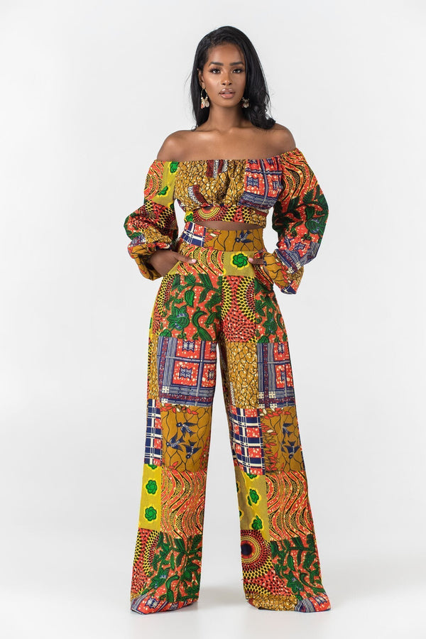 Grass-Fields Trousers African Print Bamba Pants
