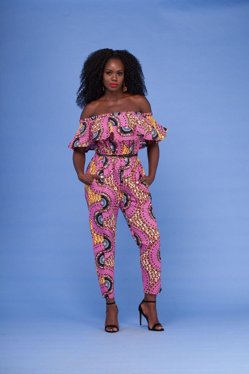 Grass-Fields Trousers African Print Bijou Jumpsuit