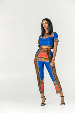 Grass-Fields Trousers African Print Dashiki Zaria Pants