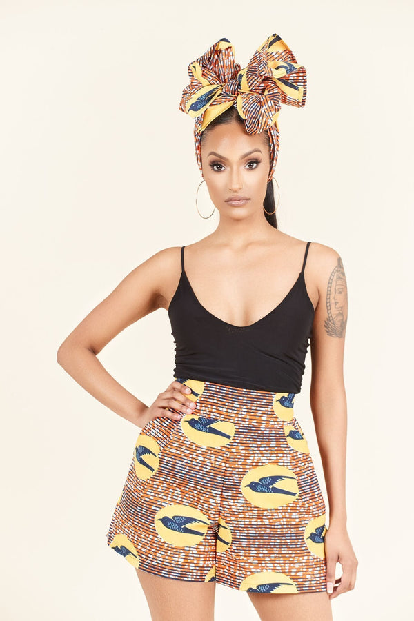 Grass-Fields Trousers African Print Laeticia Shorts