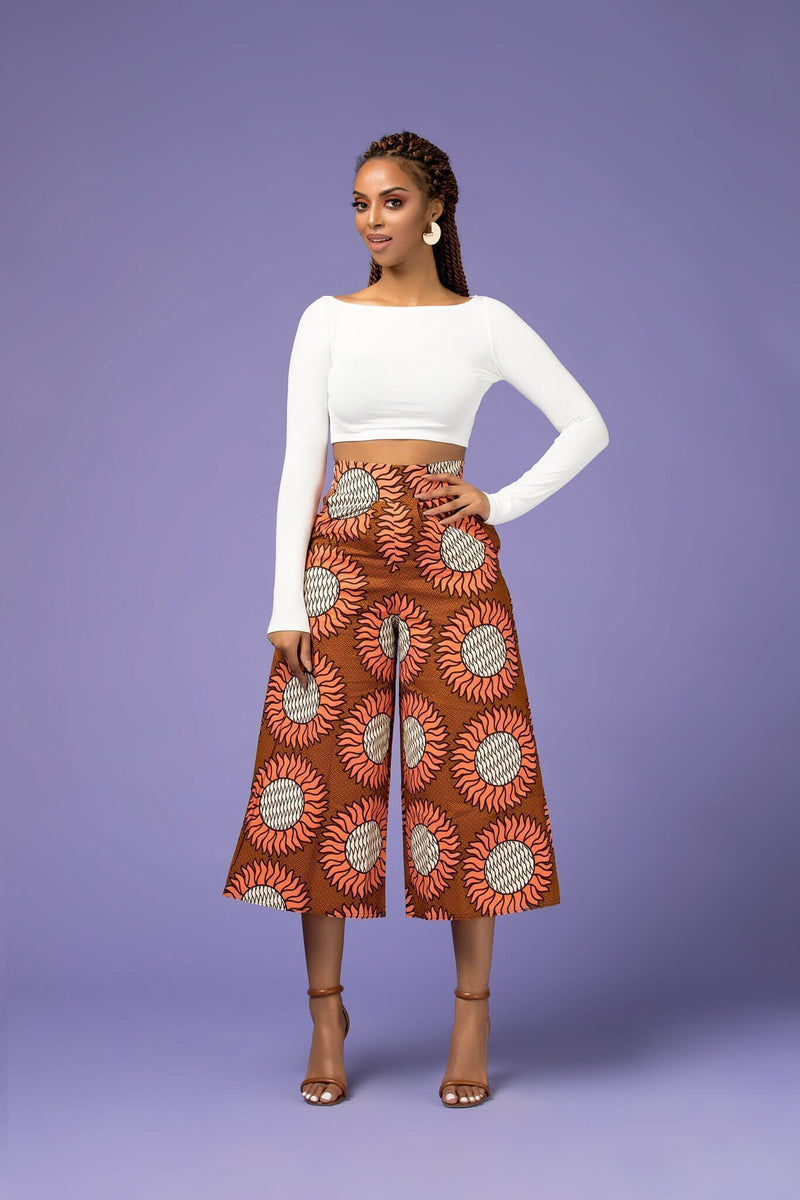Grass-Fields Trousers African Print Louise Culotte