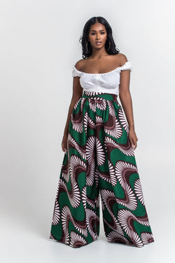 Grass-Fields Trousers African Print Ludivine Palazzo Pants