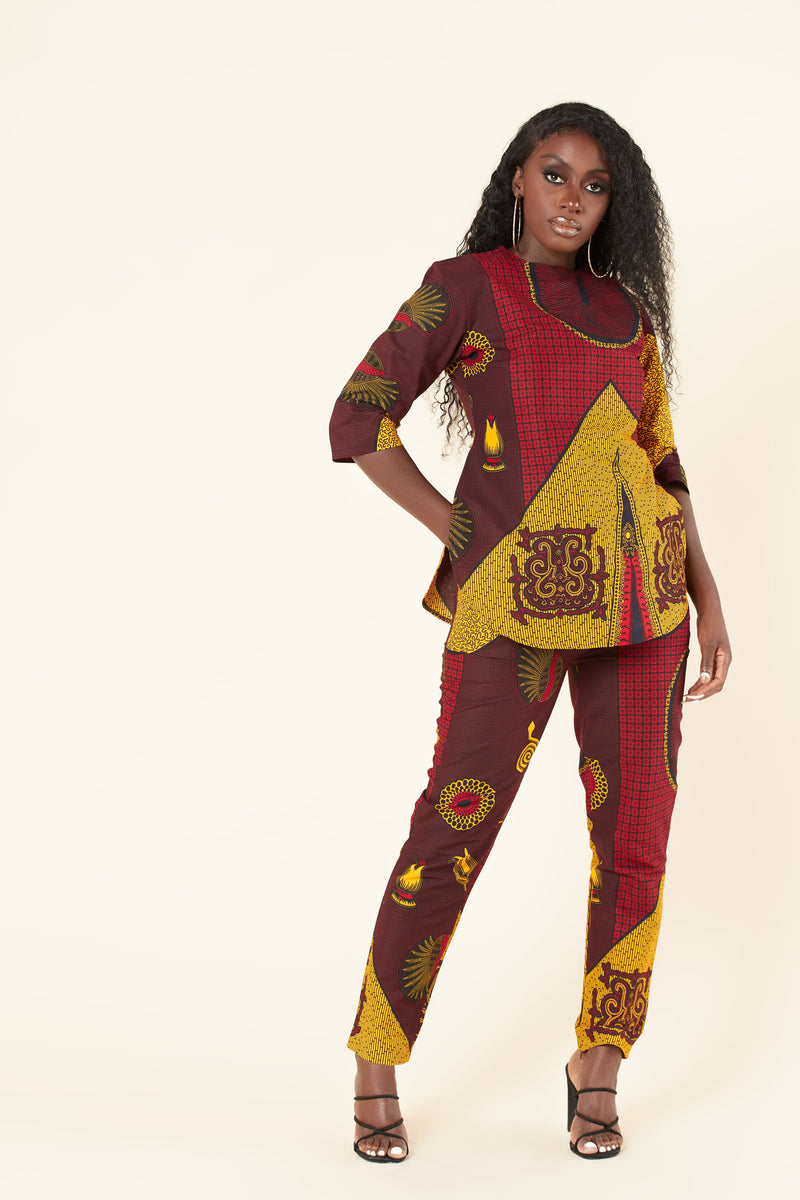 Grass-Fields Trousers African Print Missy Set