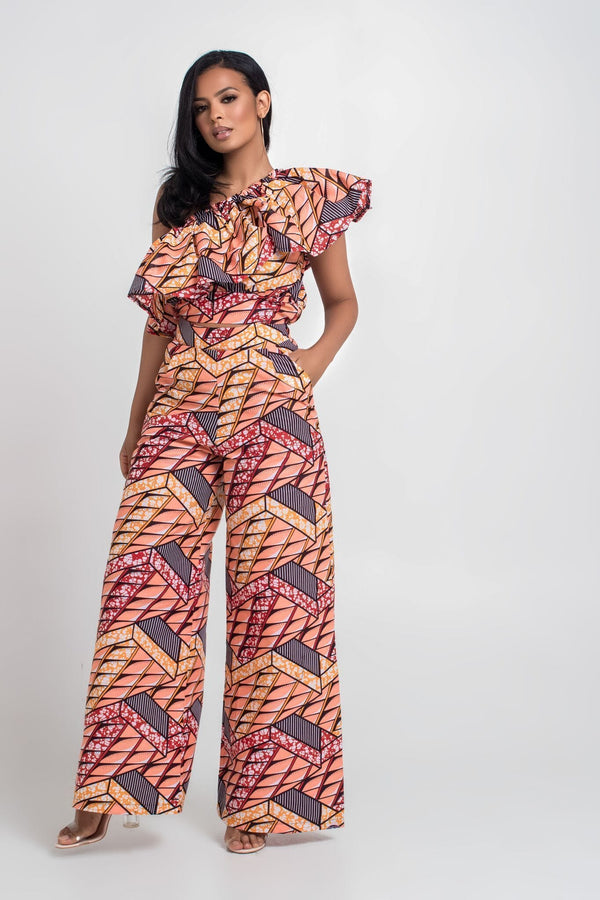 Grass-Fields Trousers African Print Perside Pants