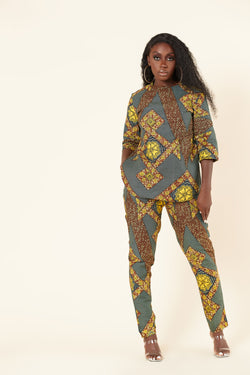Grass-Fields Trousers African Print Petra Pants