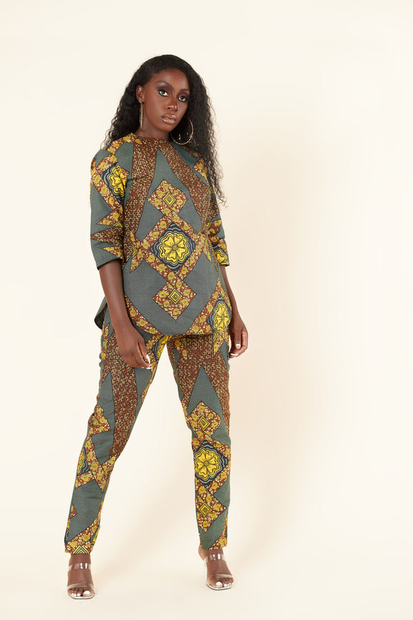 Grass-Fields Trousers African Print Petra Set