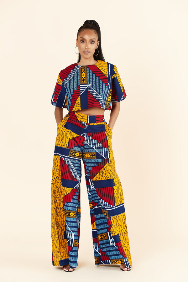 Grass-Fields Trousers African Print Raven Pants
