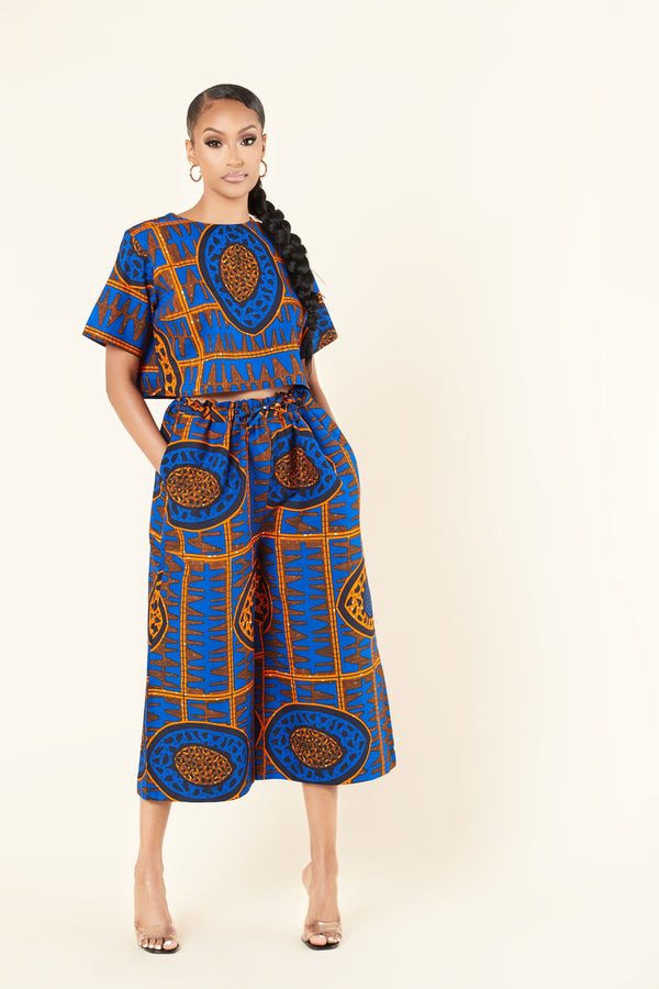 Grass-Fields Trousers African Print Yanna Culotte