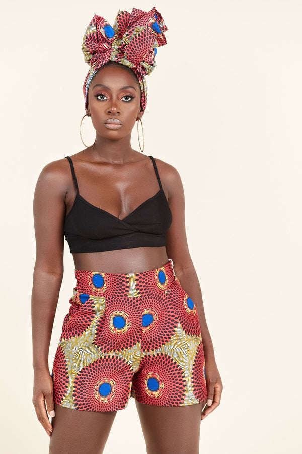 Grass-Fields Trousers African Print Yolande Shorts