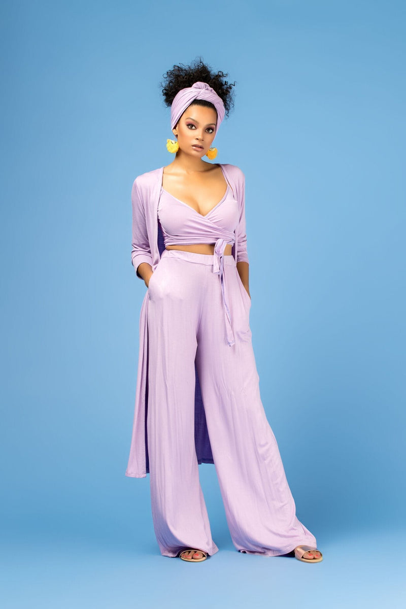 Grass-Fields Trousers Lilac Viana Kimono Top