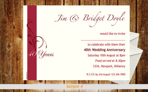 Anniversary Invitation Cards Squireprint