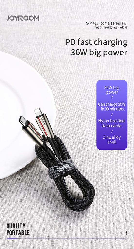 JOYROOM S-M417 Roma Series PD Fast Charging Cable 8 Pin to USB-C
