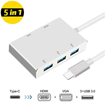 USB 3.1 Type-C to HDMI VGA and USB 3.0 Adapter 5 in 1 Support 4K