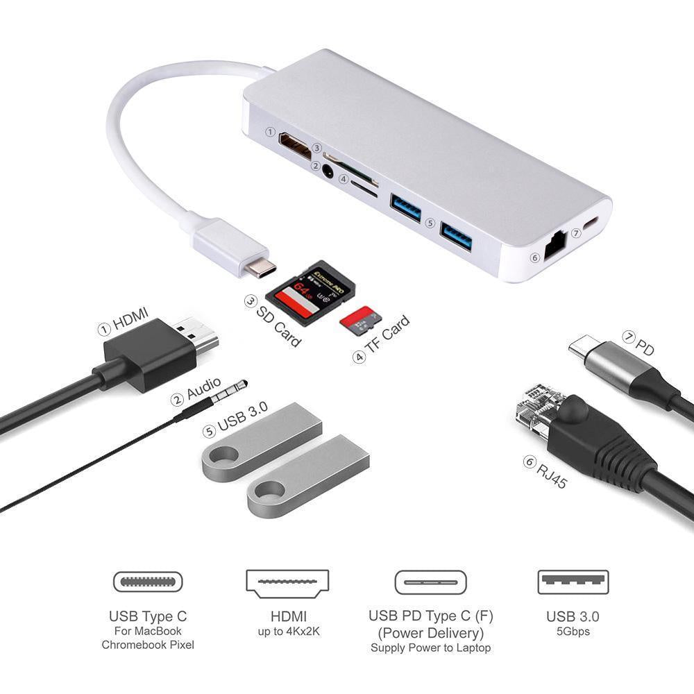 USB 3.1 Type-C to 4K HDMI MICRO SD TF CARD READER 3.5MM AUDIO JACK ETHERNET PD and 2 USB 3.0 Adapter 8 in 1