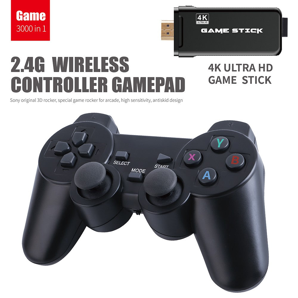 4K HD TV video game Console stick built in 3000 Games PS1 Arcade Emulators Double wireless Controller U8 3D game console
