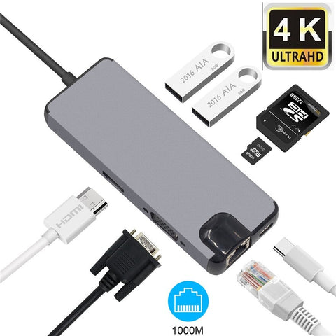 USB C Adapter 8 in 1 with 4K HDMI, Type C Charging Port, Ethernet, 3 USB 3.0 Ports, SD TF Card Reader