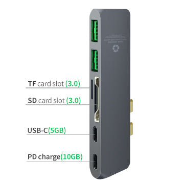 Dual USB-C Hubs, Type C Multi Port Adapter with 2 Ports USB 3.0, PD, SD and TF Socket