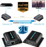 HDMI Extender Converter With IR 60M, Video/Audio Extend Over Cat6/Cat7 1080P