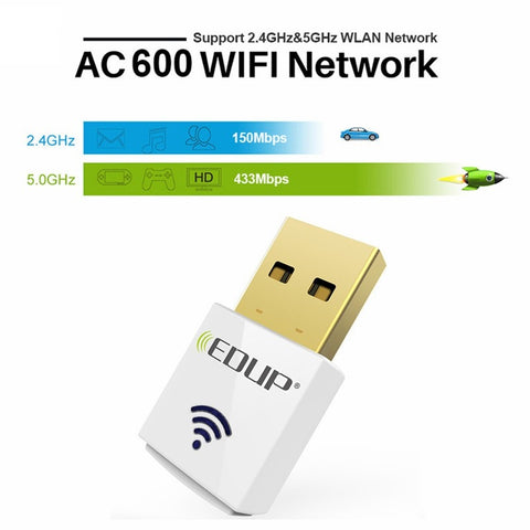 EDUP 11AC 600Mbps Dual-Band Wireless USB Adapter,Win / Mac / Linux