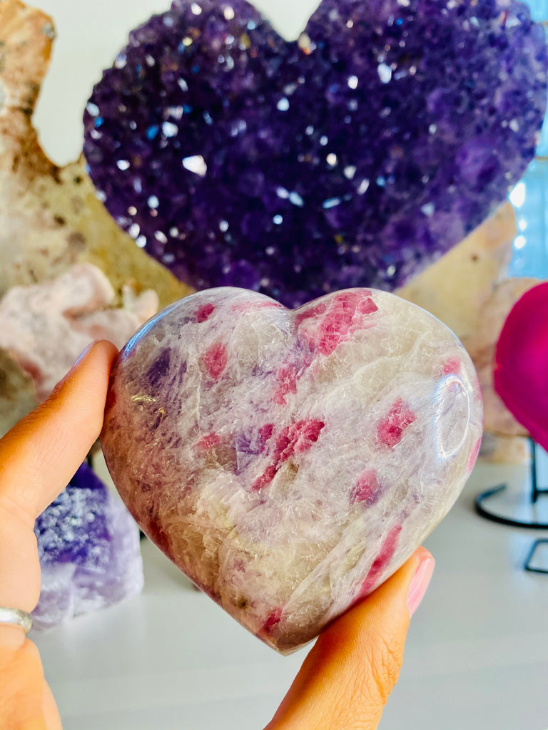 Pink Tourmaline with Lepidolite Hearts 💜💓💕