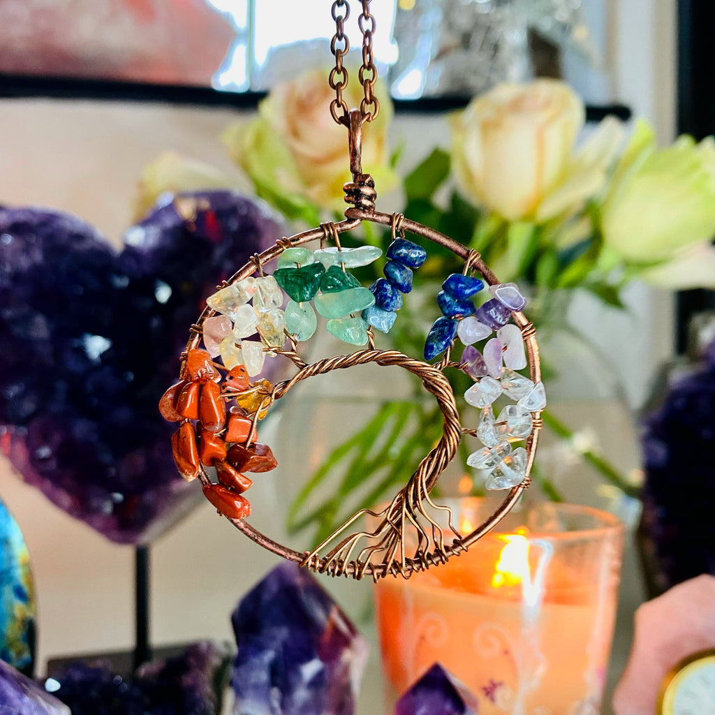 Chakra Tree of Life Bronze Necklace ❤️🌳💜💎💚🌳💙
