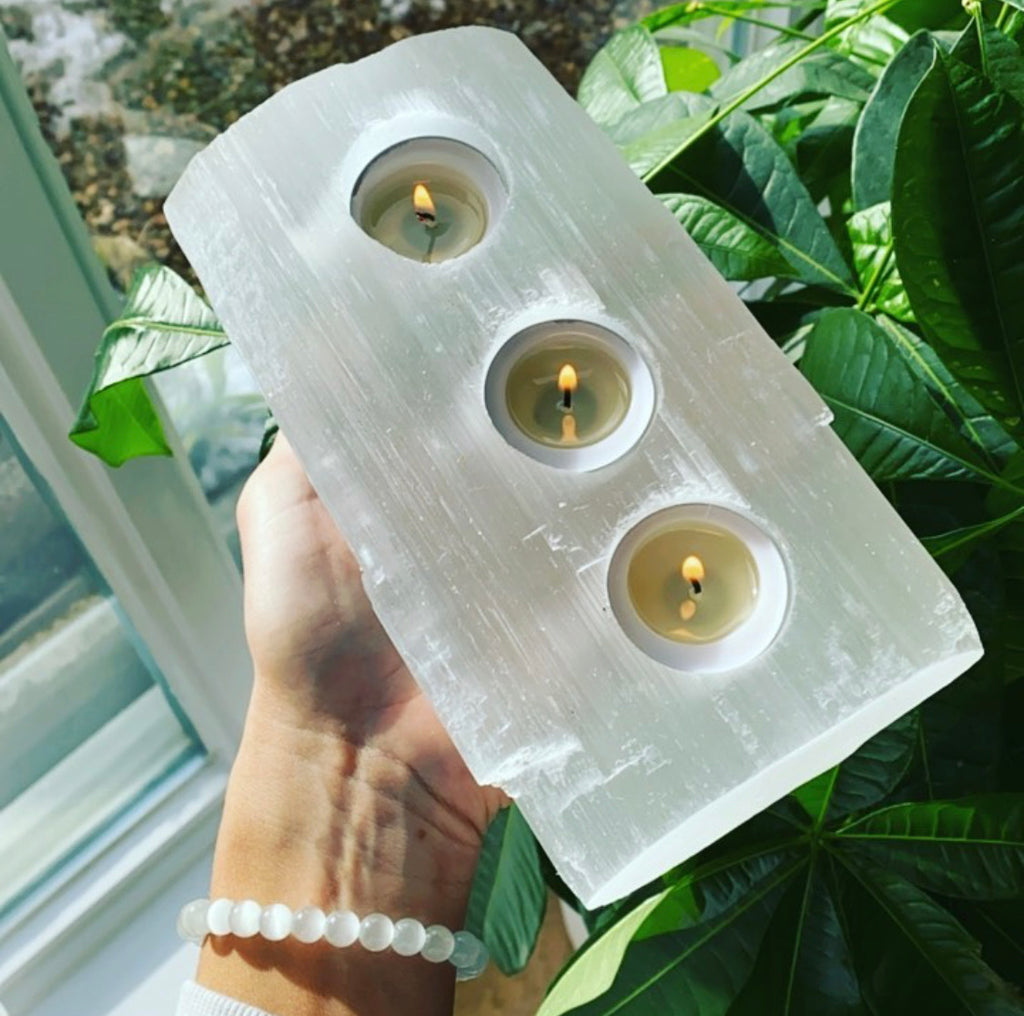 Selenite Triple T Light Candle holder 🕯