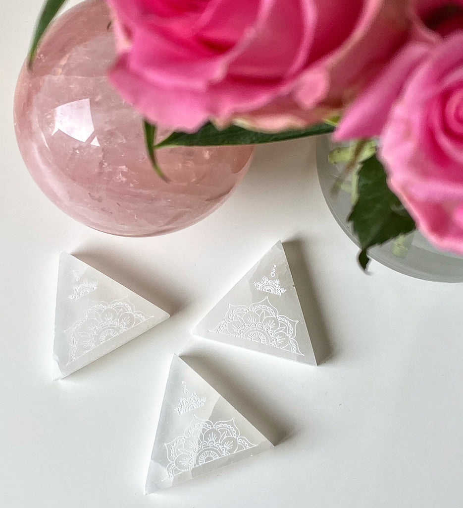 Selenite Mandala Triangles 🔺◽️🔺⚪️🤍❤️