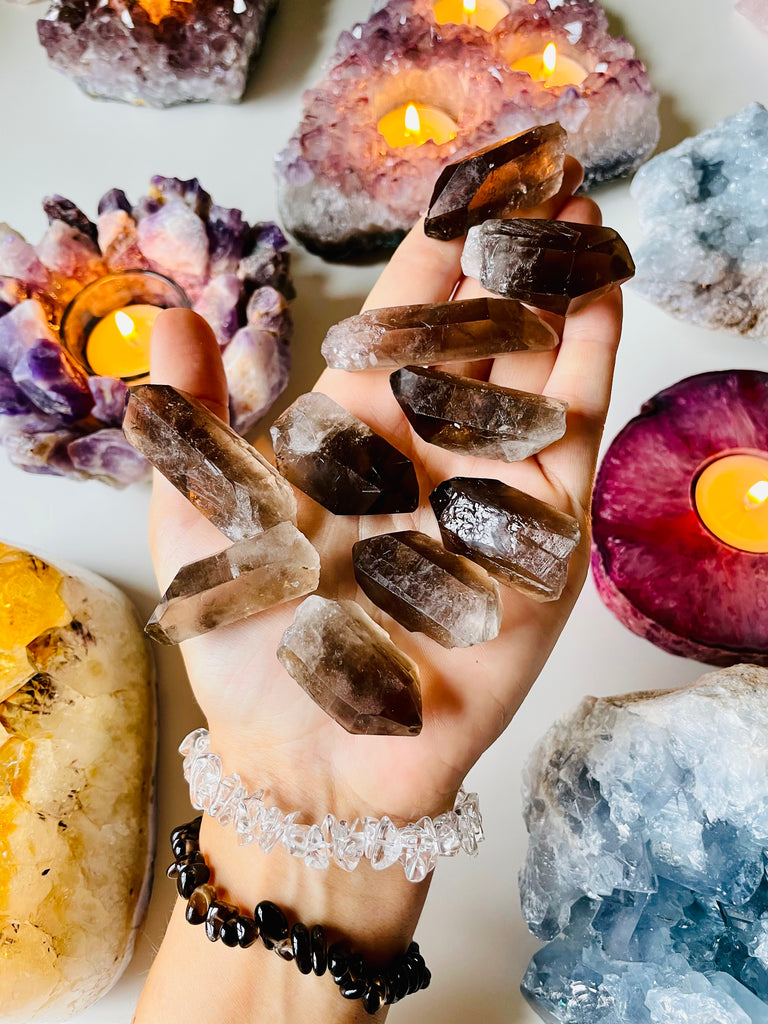 Natural Smokey Quartz Raw Powerful Points of divineness 🥰🖤💎💪🏼💫💎