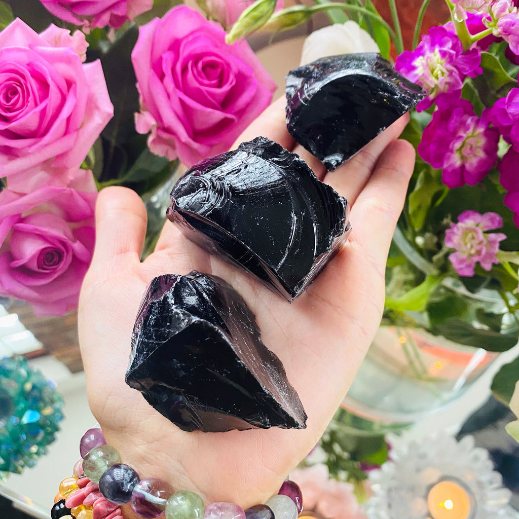 Natural Black Obsidian Raw Crystal Specimens 💪🏼🖤