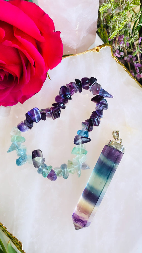 Rainbow Fluorite Solid Silver Point Pendant 🌈💎🔮💜