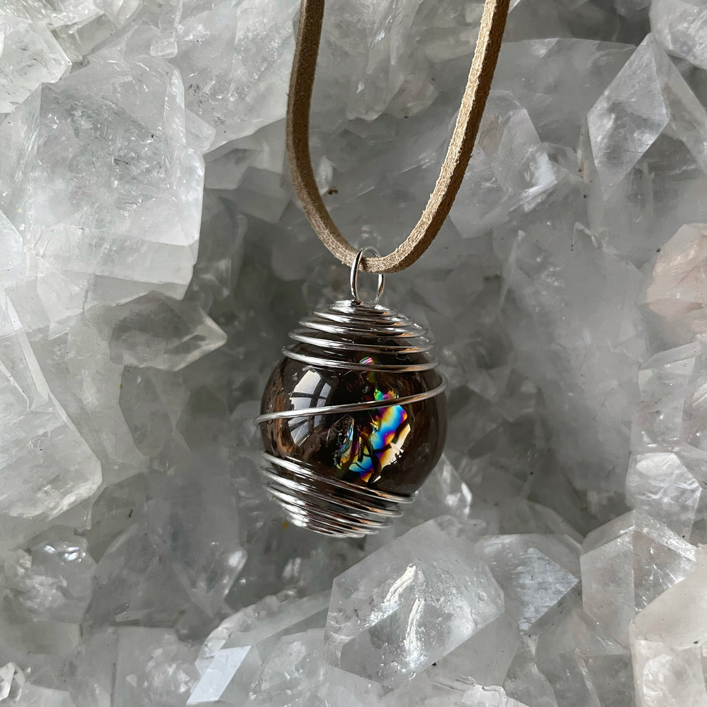ADORABLE MINI SMOKEY QUARTZ SPHERE PENDANTS 🌈🔮💎