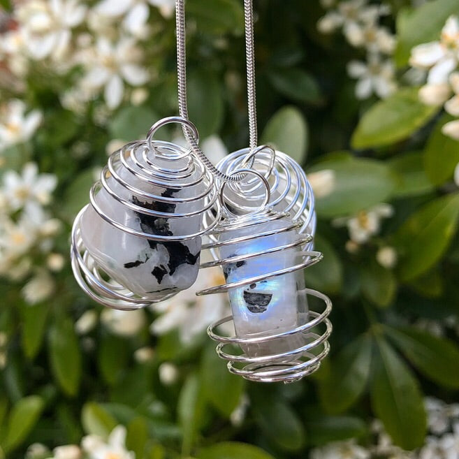 Rainbow Moonstone Crystal Cage Pendants 🌈🌙