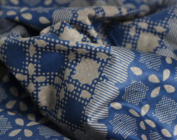 African Wax Print Cotton - Blue Dot Tile