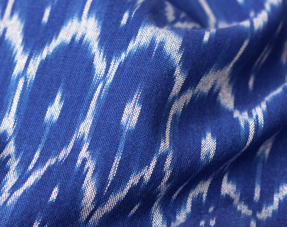 Ikat Homespun Indian Cotton - Blue Wave