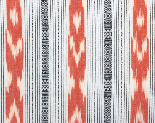Coral Stripe Ikat Handloom Indian Cotton