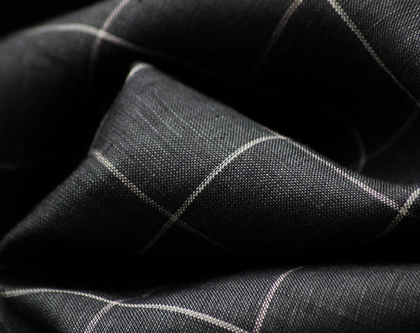 Charcoal Windowpane Check 100% Linen from Italy