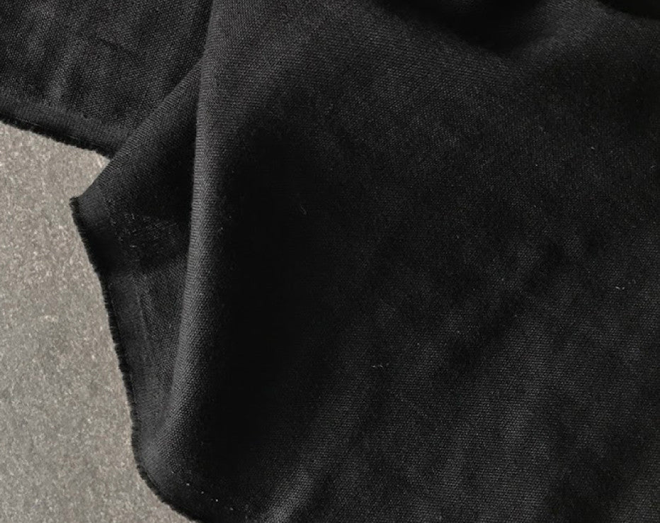 Solid Black Double Gauze Fabric by Kokka