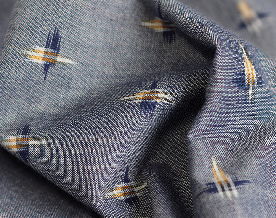 BOLT END 'Like Chambray' Ikat Handloom Indian Cotton