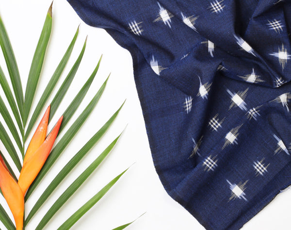 Spot Navy Ikat Handloom Indian Cotton