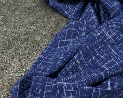 Indigo Crosshatch Homespun Indian Ikat