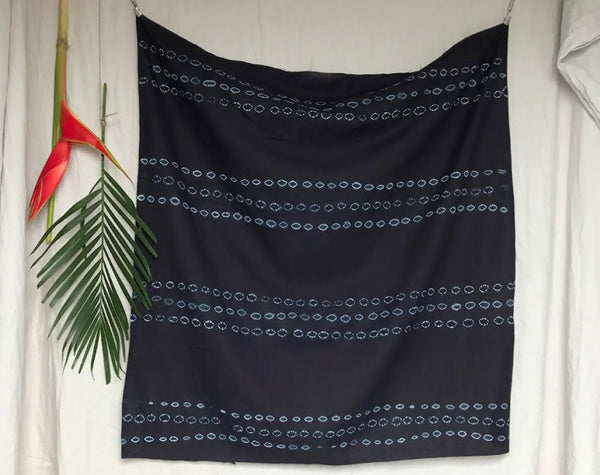 African Hand Dyed Indigo Triple Tie Cotton