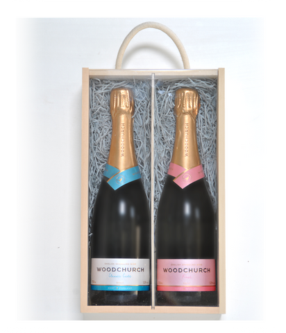 Double wooden wine gift box